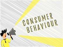 Uppförande för konsument för ordhandstiltext Affärsidé för beslut som folket gör för att köpa eller för att inte köpa en produkt stock illustrationer