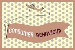Uppförande för konsument för ordhandstiltext Affärsidé för beslut som folket gör för att köpa eller för att inte köpa en produkt royaltyfri illustrationer