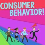 Uppf?rande f?r konsument f?r textteckenvisning Begreppsm?ssig fotostudie av hur individuella kunder p?verkar varandra med m?rkesf stock illustrationer