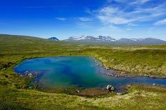 Uppfriskande bad i den nordiska berglagun Fotografering för Bildbyråer