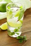 Uppfriskande drink med limefrukt och minten royaltyfri foto