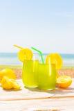Uppfriskande fruktsaft på havet Fotografering för Bildbyråer
