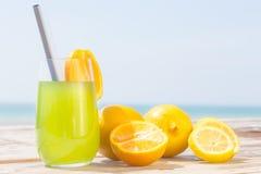 Uppfriskande fruktsaft på havet Arkivfoto