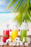 Uppfriskande fruktsaft på stranden Arkivfoton