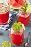Uppfriskande hemlagad vattenmelonAgua Fresca Arkivfoto