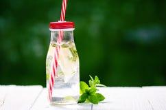 Uppfriskande hemlagat smaksatt vatten med citronen, limefrukt och menthaen på en vit tabell i trädgård unga vuxen människa _ arkivfoton