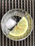 Uppfriskande kolsyrat vatten med citronen och is arkivfoton