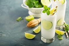 Uppfriskande limefrukt fryst kylare eller slushie arkivfoto