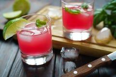 Uppfriskande med is jordgubbecoctail med limefruktskivor och basilikanolla Fotografering för Bildbyråer