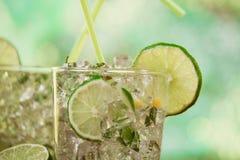 Uppfriskande sommarcoctailar för mintkaramell och för limefrukt royaltyfri fotografi