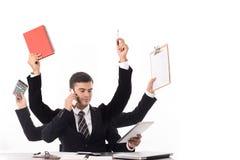 Uppgift för chef för affär för Multitaskingman upptagen Arkivfoto