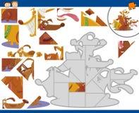Uppgift för tecknad filmhundkapplöpningpussel Royaltyfri Fotografi