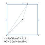 Uppgiften av att finna sidor av en triangel AOM Arkivfoton