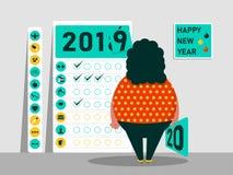 Uppgifter och plan för 2019 - 2020 Kalender av vanor Roligt fett tecken lyckligt nytt år också vektor för coreldrawillustration royaltyfri illustrationer
