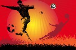 uppgiftsfotbollsspelarefotboll Fotografering för Bildbyråer
