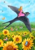 Uppgiftsmapp-svalan räddar Thumbelina royaltyfri illustrationer
