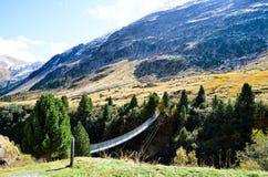 Upphängningbro i AutumnRofen i Oetztal, Tyrol (Österrike) Arkivfoto