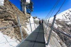 Upphängningbro på det Titlis berget Royaltyfri Fotografi