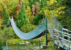 Upphängningbron, den provinsiella Pinawa fördämningen parkerar Royaltyfri Bild