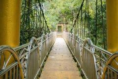Upphängningbron i naturliga Lumbini parkerar, Berastagi, Indonesien royaltyfria bilder
