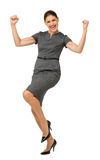 Upphetsad affärskvinna Celebrating Success Royaltyfri Bild
