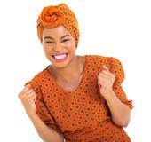 Upphetsad afrikansk flicka Arkivbilder