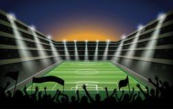 Upphetsad folkmassa av folk på en fotbollstadion stock illustrationer
