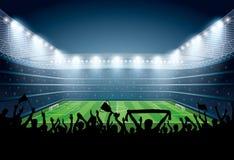 Upphetsad folkmassa av folk på en fotbollstadion Fotbollsarena royaltyfri illustrationer