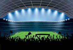 Upphetsad folkmassa av folk på en fotbollstadion Fotbollsarena stock illustrationer