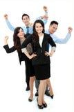 Upphetsad grupp av affärsfolk Arkivfoto