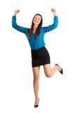 Upphetsad lycklig affärskvinna med grep hårt om nävar Royaltyfri Bild