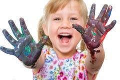 Upphetsad målade händer för unge visning Arkivbild