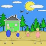 Upphetsad nytt hem för lycklig familj Arkivbild