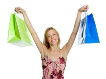 Upphetsad shoppingkvinna royaltyfri bild