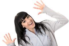 Upphetsat gladlynt glat nöjt lyckligt le för kvinna Fotografering för Bildbyråer