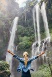 Upphetsat kvinnaanseende vid vattenfallet fotografering för bildbyråer