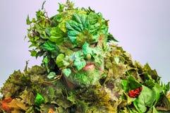 Uppklädd som den gröna mannen som firar ankomsten av sommar i Hastings Royaltyfri Fotografi