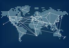 Uppkopplingsmöjlighet för globalt nätverk som föreställs av mörker - blå världskarta med förbindelselinjer Arkivbilder