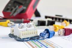 Uppkopplingsmöjlighet för vägg för kontaktdon RJ45 mountable och rörlig Arkivbild