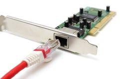 Uppkopplingsmöjlighetproblermbegrepp med LAN-kabel & nätverkskortet Arkivfoto