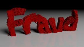 Upplösa animeringen av ordet BEDRÄGERI i rött vektor illustrationer