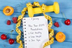 Upplösningar för det nya året som är skriftliga i anteckningsbok på blått, stiger ombord Royaltyfri Fotografi