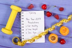 Upplösningar för det nya året som är skriftliga i anteckningsbok på lilor, stiger ombord Royaltyfria Foton