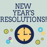 Upplösningar för nytt år S för handskrifttext Begreppet som betyder målmål, uppsätta som mål beslut för därefter 365 dagar vektor illustrationer