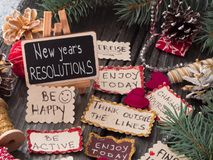 Upplösningar för ` s för nytt år Arkivbilder