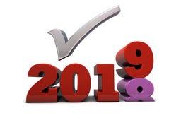 2019 upplösningar och kontrollista för nytt år royaltyfri illustrationer