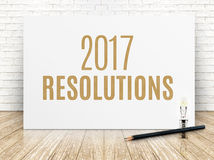 2017 upplösningar smsar på vitbokaffischen med den svarta blyertspennan Arkivfoton