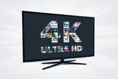 upplösningsteknologi för television 4K Arkivfoto