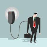 Uppladdning för chef Affärsman som laddas från batteriuppladdare stock illustrationer
