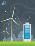 Uppladdning för energi för Eco väderkvarnstad Royaltyfri Illustrationer